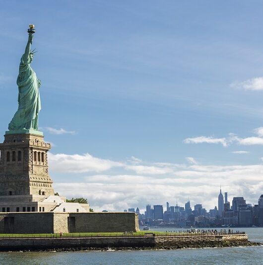 Statue of Liberty and the New York City Skyline, USA.